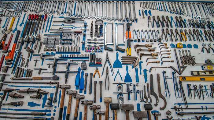 Workbench covered in tools