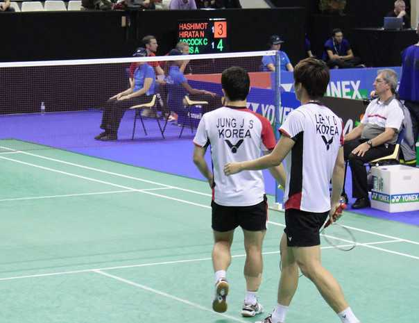 Lee Yong Dae and Jung Jae Sung playing doubles for South Korea