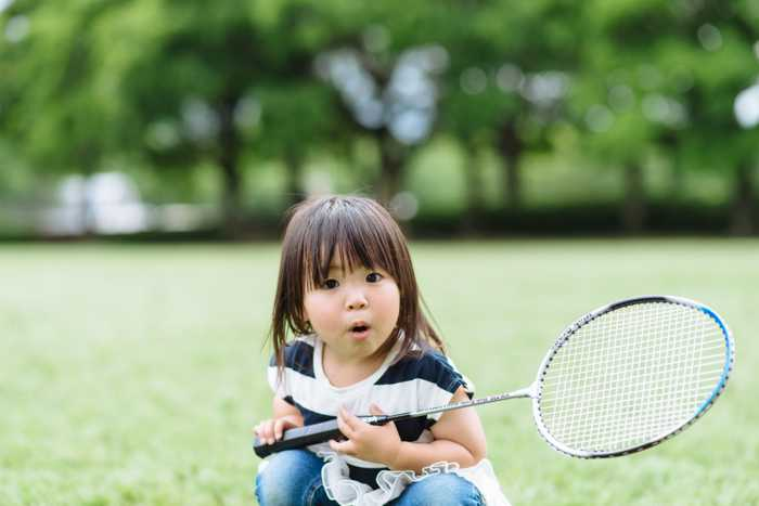 Little girl with Badminton racquet