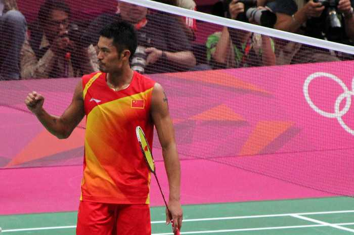 Lin Dan after winning a point at London 2012 Olympics