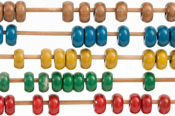 An abacus with different coloured beads